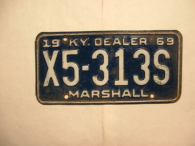 1969 Kentucky Dealer License Plate Marshall County