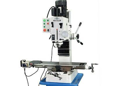 "PM-932M 9x32"" VERTICAL MILLING MACHINE R8 SPINDLE X-AXIS POWER FEED 3YR WARRANTY"