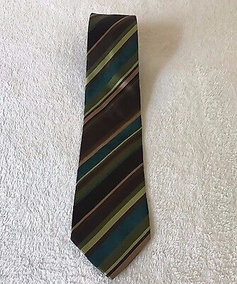 Mens Hugo Boss Tie Brown Green Striped 100% Silk