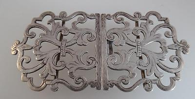 Victorian 1898 Large Solid Silver Nurses Buckle (S147)