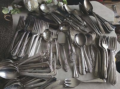 242 Silverplate Flatware Mixed Makers LOT Crafts Weddings Parties