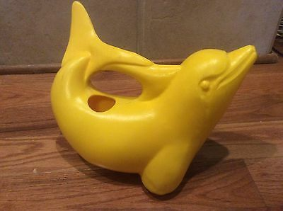 Ebert Yellow Plastic Dolphin Watering Can Made In Germany Vintage