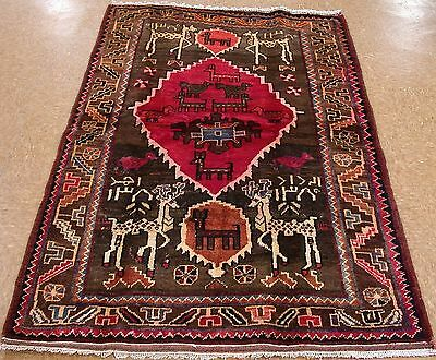 PERSIAN LURI Tribal Hand Knotted Wool BROWN PINK ANIMAL BIRD Pictorial Rug 4 x 6