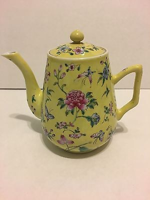 Very Rare Vintage Antique TeaPot China Yellow Pink Blue Flowers & Butterflies