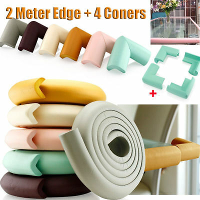 Baby Proof Safety 4 Corners & 2M Edge Desk Table Cushion Bumper Protection Cover