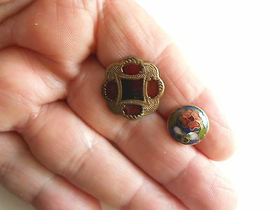 Antique/vintage Good Pair Of Enameled Buttons #22