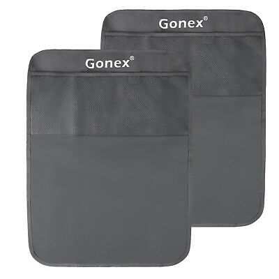 2x Car Back Seat Cover Protector Kicking Mat For Kids Seats With Organizer Gray