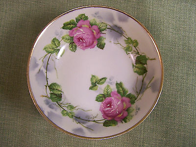 """MW & Co.~6 Signed German Porcelain 5 3/8"""" Berry Bowl's Hand Painted Pink Roses"""