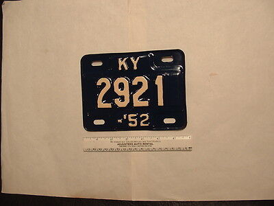1952 Kentucky Motorcycle License Plate