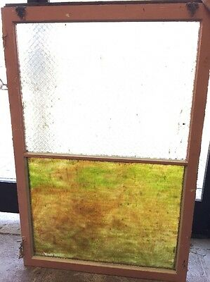Large Vintage Chicken Wire Window 1920's Pebbled Stained Glass Window Transom