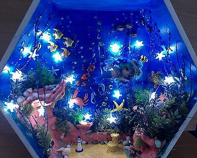Handmade Underwater Diorama For Tiny BJD Mermaid, Charles Creature Cabinet, etc.