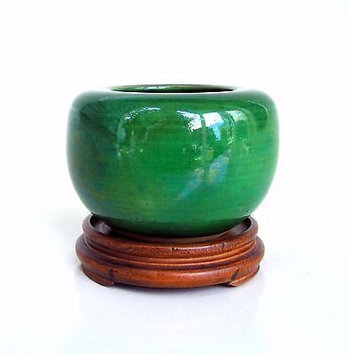 Small Antique 19th C. Japanese Awaji Apple Green Glazed Water Pot Coupe