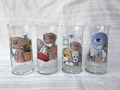 Set of 4 Vintage E.T. Drinking Glasses Pizza Hut Limited Edition 1982
