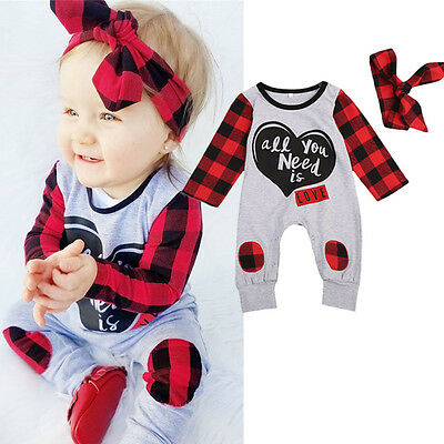 Newborn Baby Boy Girl Romper Bodysuit Jumpsuit Headband 2PCs Outfits Clothes NEW