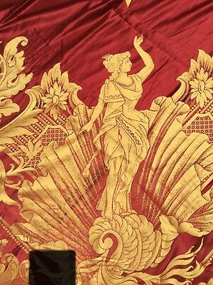 """Antique Red gold Italian Roman Goddess Tablecloth Tapestry Fabric 107 x 97"""""""