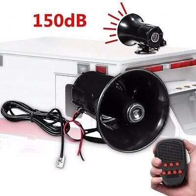 100W 12V 7 Sound Loud Car Warning Alarm Police Fire Siren Horn PA Speaker System