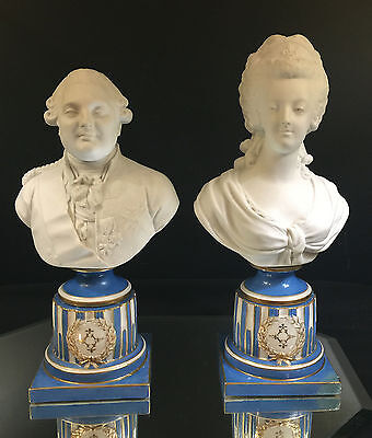 Sevres--Louis Xiv & Josephine-White Bisque Busts--French Blue Plinth--Buy It Now