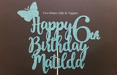 Personalised 6th six (any age) Birthday Butterfly Glitter Cake Topper - 300 GSM