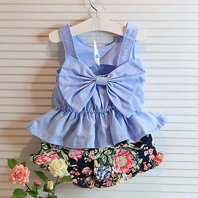 Toddler Kids Baby Girls Outfits Clothes T-shirt Top Dress+Pants 2PCS Sets AU