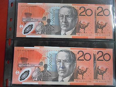 2003 $20 First And Last Prefix Aa 03 & Da 03 Set Unc Consecutive Pairs