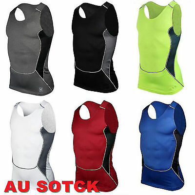 Men Compression Base Layer Vest Tank Top Shirts Running Fitness Sports Singlet
