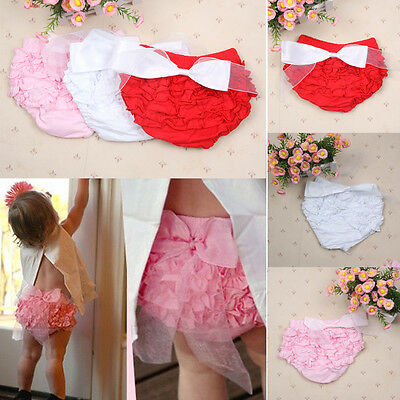 Toddler Baby Girls Bow Shorts Ruffle PP Pants Bloomers Diaper Nappy Cover AU