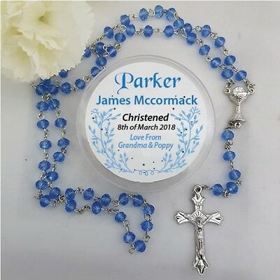 Blue Crystal Rosary Beads - Personalised - Add a Name