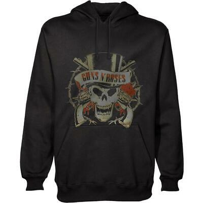 Guns N Roses - Distressed Skull - Men's Black Pullover Hoodie