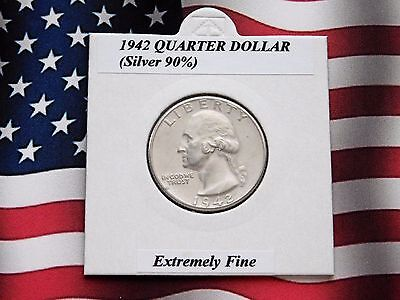🌟 EXTREMELY FINE? USA 1942 Quarter Dollar (Silver 90%)