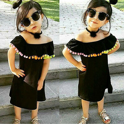 Summer Kids Baby Girls Prom Dresses Multi Colors Tassels Princess Party Clothes