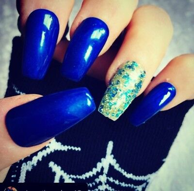 Hand Painted Gel False Nails Blue Coffin Full Cover Tips - Press On Nails