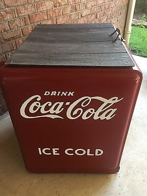 Vintage Repainted Coca Cola Embossed Ice Cooler/ Chest With Opener