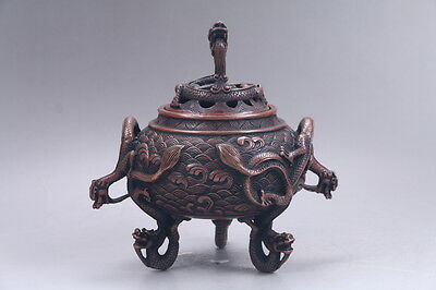 Exquisite Chinese pure copper hand Carved dragon incense burner xuande mark r13