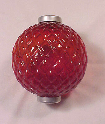 """Lightning Rod Ball Quilted Red 5"""" End Caps Marked Geo. E. Thompson 1970's Era"""