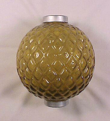 """Lightning Rod Ball Quilted Yellow 5"""" End Caps Marked Geo. E. Thompson 1970's Era"""