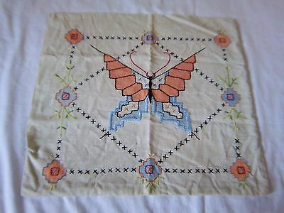 ANTIQUE / VINTAGE EMBROIDERED BUTTERFLY PILLOW COVER COVERING 14 3/4 x 16 cotton