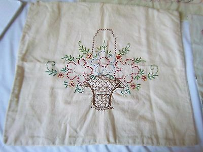ANTIQUE / VINTAGE EMBROIDERED PILLOW COVER COVERING FEED SACK? 16 x 18 inches