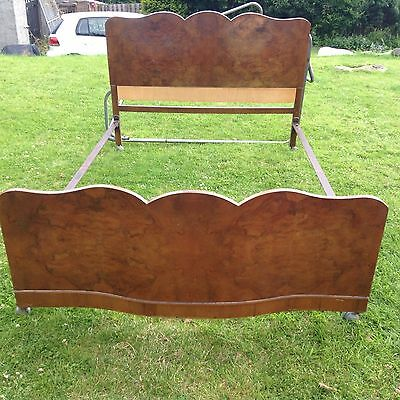VINTAGE MID-CENTURY WALNUT DOUBLE BED With Irons