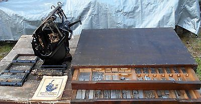 Antique Sigwalt 2 G Letterpress Platen Printing Press +Type, Letters, Case, Book