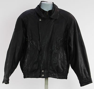 Men's WILSONS Black Leather Bomber Jacket Size L