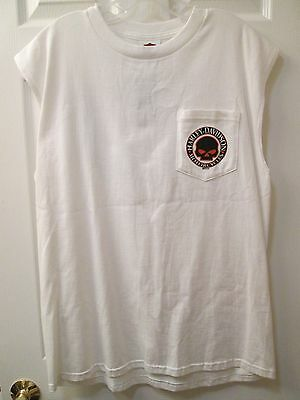 Harley Davidson Size Large White Muscle T-Shirt chicago NWT