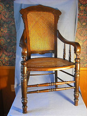 Victorian Walnut Ren Rev.office chair w/caned back and seat, large