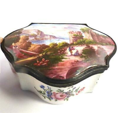 Antique 18Th Century Enamel Box Casket Painted Coastal Scene Flowers