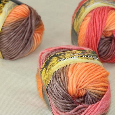 Sale Lot of 3 Skeins New Knitting Yarn Chunky Colorful Hand Wool Wrap Scarves 12