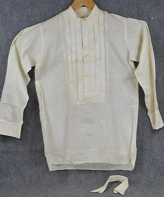 collarless shirt men dress cotton French cuffs white  antique original 1800