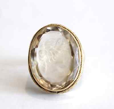 Antique Carved Roman Goddess Intaglio Citrine 14k Yellow Gold Ring Size 3