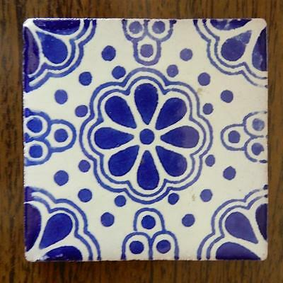 "Mexican Talavera Tile 3X3"" Blue/White Model Made in Tonala Jalisco"