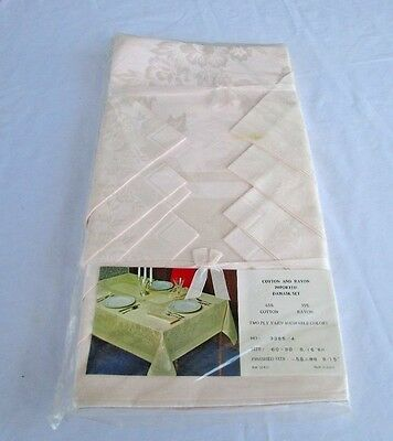 Vintage Cotton and Rayon Damask Set Made In Japan Tablecloth & Napkins NOS