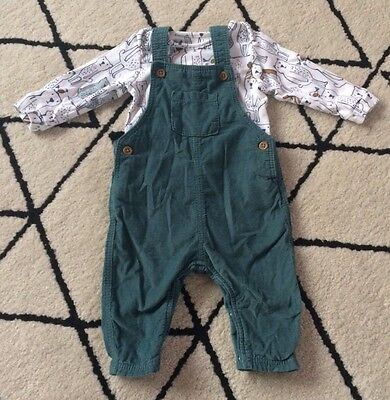 M&S Baby Boys Cord Dungaree Outfit 3-6 Months
