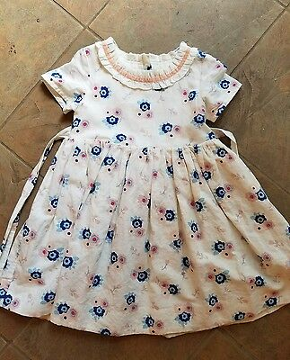 Mini Boden Girls Blue and Pink Floral Dress 4-5 EUC